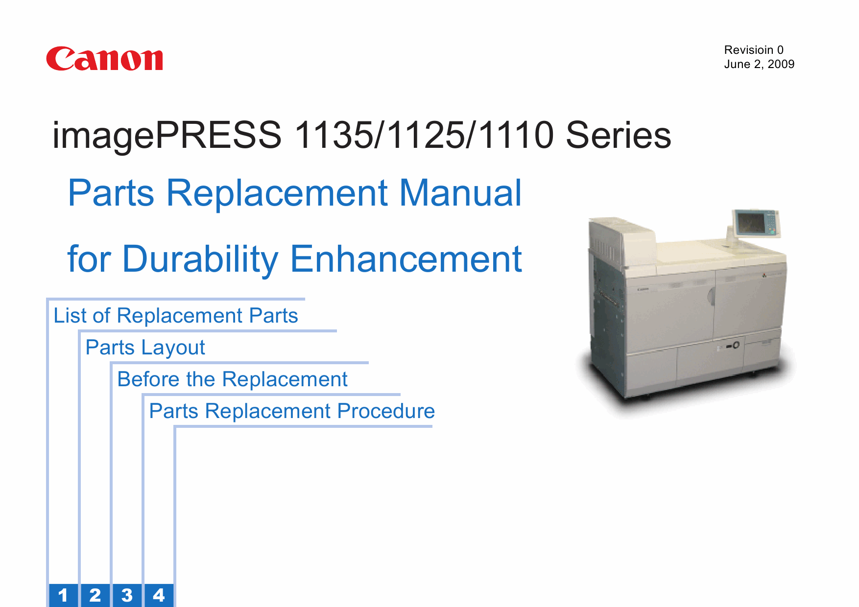 CANON imagePRESS 1110 1125 1135 Parts Replacement Manual PDF download-1